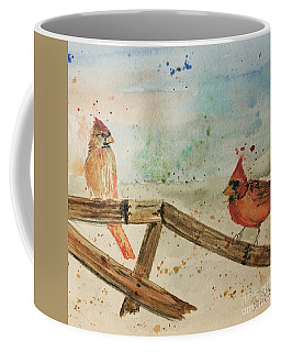Coffee Mug featuring the painting Winter Cardinals by Denise Tomasura