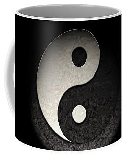 Yin Yang Symbol Leather Texture Coffee Mug