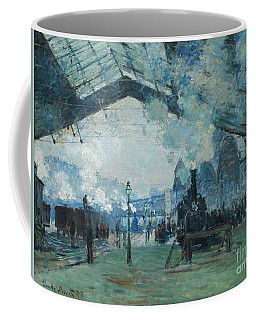 Coffee Mug featuring the digital art Arrival Of The Normandy Train, Gare Saint-lazare by Claude Monet