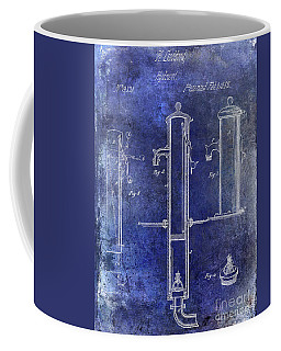 1858 Fire Hydrant Patent Blue Coffee Mug