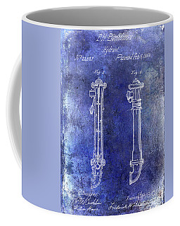 1859 Hire Hydrant Patent Blue Coffee Mug