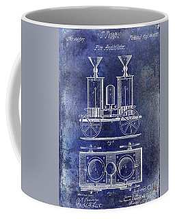 1870 Fire Truck Patent Blue Coffee Mug