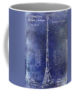 1871 Fire Hose Elevator Patent Blue Coffee Mug