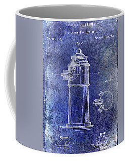 1871 Fire Hydrant Patent Blue Coffee Mug