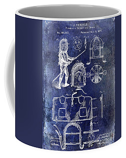 1877 Firemans Helmet And Dress Patent Blue Coffee Mug