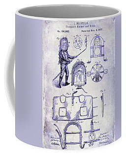 1877 Firemans Helmet And Dress Patent  Blueprint Coffee Mug