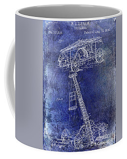 1884 Fire Ladder Truck Patent Blue Coffee Mug