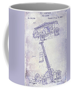 1884 Fire Ladder Truck Patent Blueprint Coffee Mug
