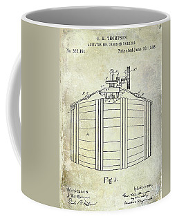 1888 Whiskey Or Beer Barral Patent Coffee Mug