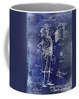 1905 Firemans Uniform Patent Blue Coffee Mug