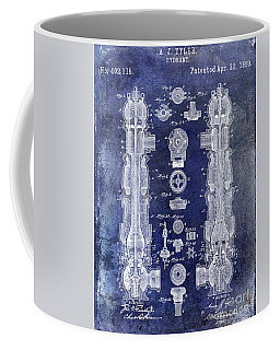 1889 Fire Hydrant Patent Blue Coffee Mug