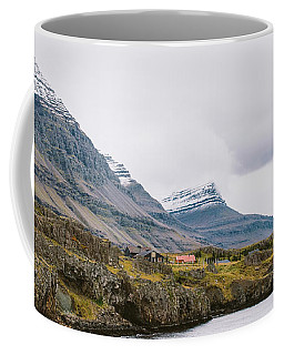 High Icelandic Or Scottish Mountain Landscape With High Peaks And Dramatic Colors Coffee Mug