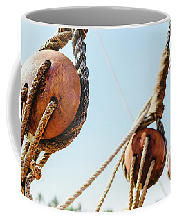 Rigging And Ropes On An Old Sailing Ship To Sail In Summer. Coffee Mug