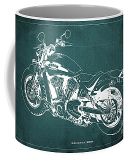 2018 Indian Scout Bobber Blueprint, Vintage Background Coffee Mug