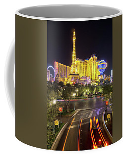 Coffee Mug featuring the photograph Nigh Life And City Skyline In Las Vegas Nevada by Alex Grichenko
