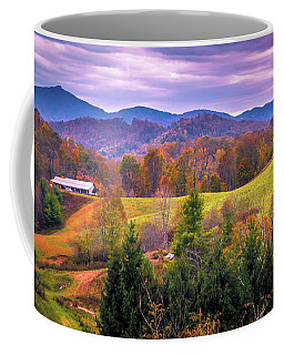 Coffee Mug featuring the photograph Autumn Season And Sunset Over Boone North Carolina Landscapes by Alex Grichenko