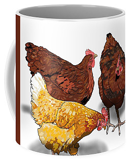 Coffee Mug featuring the drawing 3 Chickens Chat by Joan Stratton