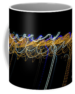 Colorful Light Painting With Circular Shapes And Abstract Black Background. Coffee Mug