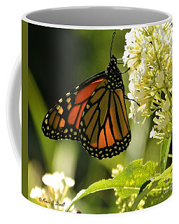 M White Flowers Collection No. W12 - Monarch Butterfly Sipping Nectar Coffee Mug