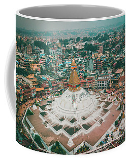 Stupa Temple Bodhnath Kathmandu, Nepal From Air October 12 2018 Coffee Mug