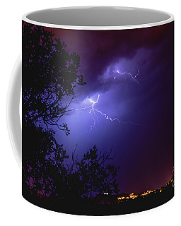 Rays In A Night Storm With Light And Clouds. Coffee Mug