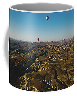 Colorful Balloons Flying Over Mountains And With Blue Sky Coffee Mug
