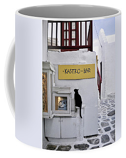 A Curious Cat In Mykonos Coffee Mug