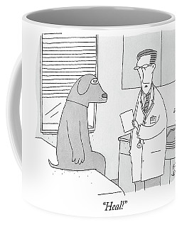 A Doctor Speaks To A Man In A Dog Costume Who Coffee Mug