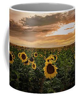 A Field Of Sunflowers At Sunset Coffee Mug