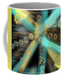 A Light Beams In Gold Brown And Blue Coffee Mug
