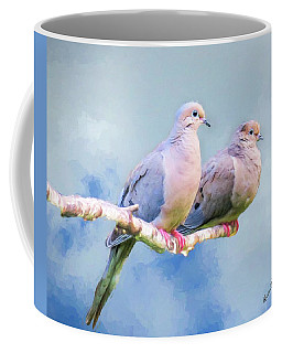 A Pair Of Mourning Doves Perching On A Branch. Coffee Mug