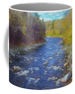 A River Flowing Through Autumn Forest. Coffee Mug