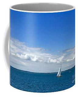 A Single Sailboat In Blue Coffee Mug