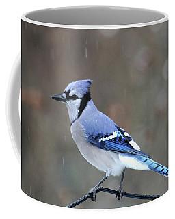 A Snowy Day With Blue Jay Coffee Mug