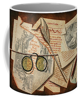 A Trompe L'oeil With Pince-nez, Pages From A Book And A Quill Pen Coffee Mug