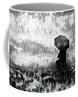 Coffee Mug featuring the mixed media A Walk In The Rain by Susan Maxwell Schmidt