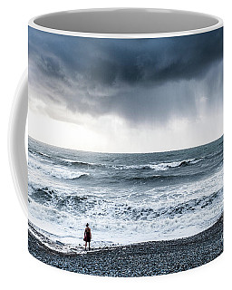 A Woman In The Sea On A Stormy Day  Coffee Mug