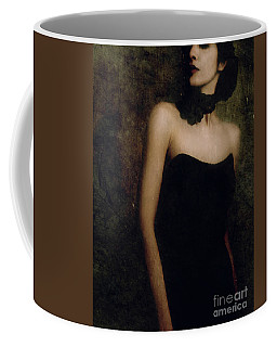 A Woman Wearing A Black Dress And Necklace Coffee Mug