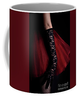 A Woman Wearing A Black Lace Glove Coffee Mug