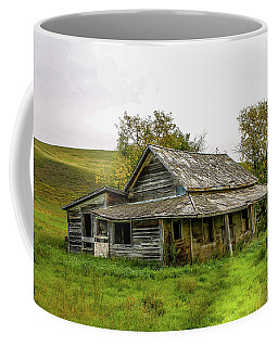Abondened Old Farm Houese And Estates Dot The Prairie Landscape, Coffee Mug