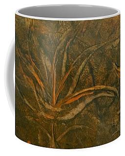 Abstract Brown/orange Floral In Encaustic Coffee Mug