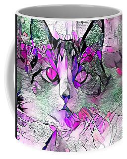 Abstract Calico Cat Purple Glass Coffee Mug