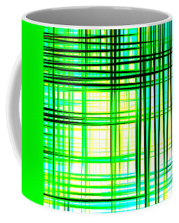 Abstract Design With Lines Squares In Green Color Waves - Pl409 Coffee Mug