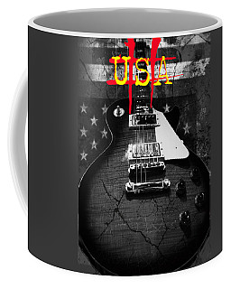 Coffee Mug featuring the digital art Abstract Relic Guitar Usa Flag by Guitar Wacky