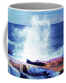 Crashing Waves At Schoodic Point Abstract Coffee Mug