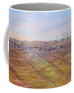 Coffee Mug featuring the painting After The Harvest by Norma Duch