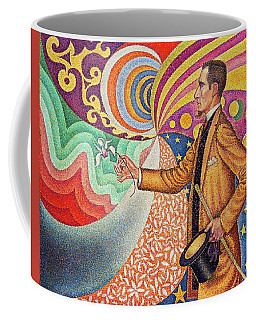 Against The Enamel Of A Background Rhythmic With Beats And Angles, Tones, And Tints Coffee Mug
