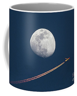 Airliner And Waxing Gibbous Moon Coffee Mug