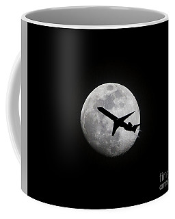Airliner Passing In Front Of A Full Moon Coffee Mug
