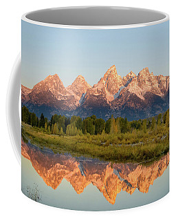 Coffee Mug featuring the photograph Alpen Glow On The Tetons by Mary Hone